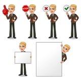 Sistema del hombre de negocios rubio en el traje marrón que lleva a cabo el tablero de la muestra stock de ilustración