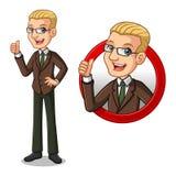 Sistema del hombre de negocios rubio en traje marrón dentro del concepto del logotipo del círculo libre illustration