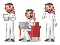Sistema del hombre de negocios Saudi Arab Man que trabaja en los artilugios stock de ilustración