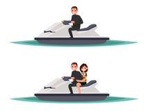 Sistema del hombre en el esquí uno del jet y con la mujer Illustrati del vector Libre Illustration