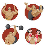 Sistema del hombre fuerte sonriente del circo del torso ilustración del vector