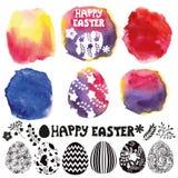 Sistema del huevo de Pascua Fabricante de la acuarela Imagen de archivo
