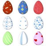 Sistema del huevo de Pascua pintado objeto 3d rinda Día de fiesta de Pascua Imagen de archivo libre de regalías