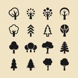Sistema del icono del árbol y del bosque ilustración del vector