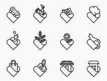 Sistema del icono del amante del esquema stock de ilustración