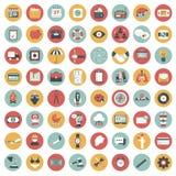 Sistema del icono del App Iconos para los sitios web y las aplicaciones móviles plano stock de ilustración
