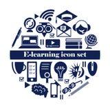 Sistema del icono del aprendizaje electr?nico Iconos en l?nea aislados de la educaci?n en el fondo blanco libre illustration