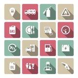 Sistema del icono auto del servicio de la gasolina ilustración del vector