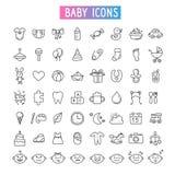 Sistema del icono Bebé, juguetes y emociones fotos de archivo
