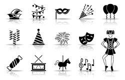 Sistema del icono del carnaval stock de ilustración