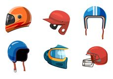Sistema del icono del casco del deporte, estilo de la historieta libre illustration