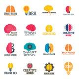 Sistema del icono del cerebro de la mente, estilo plano ilustración del vector