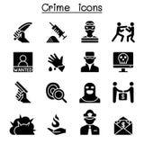 Sistema del icono del crimen y de la violencia libre illustration
