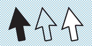 Sistema del icono del cursor, flecha del cursor del vector, negro y línea iconos stock de ilustración