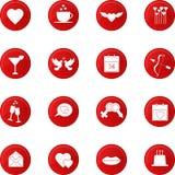 Sistema del icono del día de tarjetas del día de San Valentín Foto de archivo libre de regalías