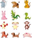 sistema del icono de 12 animales, animal chino del zodiaco ilustración del vector