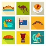 Sistema del icono de Australia Imágenes de archivo libres de regalías