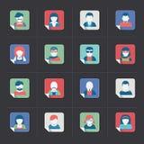 Sistema del icono de Avatar, estilo plano Imágenes de archivo libres de regalías
