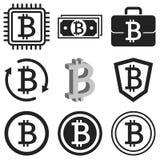 Sistema del icono de Bitcoin Símbolos negros del bitcoin aislados en blanco Imagenes de archivo