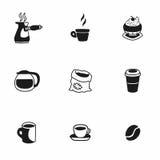 Sistema del icono de Coffe del vector Imágenes de archivo libres de regalías