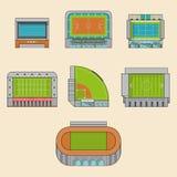 Sistema del icono de construcción de los estadios del deporte stock de ilustración