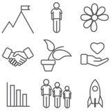 Sistema del icono de crecimiento y de desarrollo Imagen de archivo