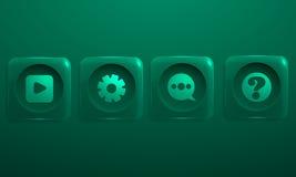 Sistema del icono de cuatro pedazos para los reproductores multimedia Fotografía de archivo libre de regalías
