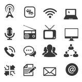 Sistema del icono de dieciséis comunicaciones Fotos de archivo