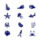 Sistema del icono de elementos de Marine Life Imágenes de archivo libres de regalías