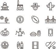 Sistema del icono de Estados Unidos Imagen de archivo libre de regalías