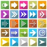 sistema del icono de 25 flechas Imágenes de archivo libres de regalías
