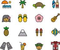 Sistema del icono de Hawaii Foto de archivo libre de regalías