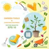 Sistema del icono de herramientas que cultivan un huerto del diferente tipo, de equipo, de verduras y de plantas Diseños colorido stock de ilustración