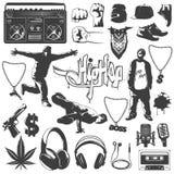 Sistema del icono de Hip Hop Imagenes de archivo