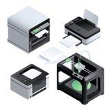 Sistema del icono de impresora, estilo isométrico ilustración del vector