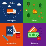 Sistema del icono de Infographic de transporte educación del bosque y tema de las finanzas foto de archivo
