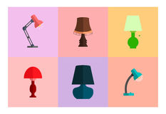 Sistema del icono de lámparas Estilo plano moderno Fotos de archivo