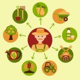 Sistema del icono de la agricultura Fotografía de archivo