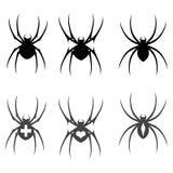 Sistema del icono de la araña de la silueta del negro del vector aislado en el fondo blanco Fotos de archivo libres de regalías