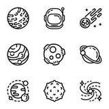 Sistema del icono de la astronomía de espacio, estilo del esquema libre illustration