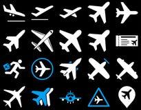 Sistema del icono de la aviación Fotografía de archivo libre de regalías