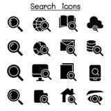 Sistema del icono de la búsqueda y de Internet Fotografía de archivo