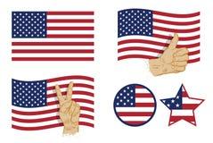 Sistema del icono de la bandera de los E.E.U.U. Ilustración del vector Fotos de archivo libres de regalías