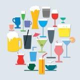 Sistema del icono de la bebida Fotografía de archivo