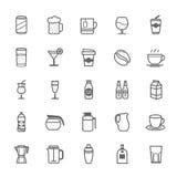 Sistema del icono de la bebida del movimiento del esquema Imagen de archivo libre de regalías