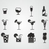 Sistema del icono de la bebida y del alcohol Imágenes de archivo libres de regalías