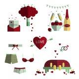 Sistema del icono de la boda y del amor Fotos de archivo libres de regalías