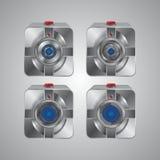 Sistema del icono de la cámara del metal Imágenes de archivo libres de regalías