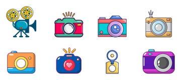 Sistema del icono de la cámara, estilo de la historieta