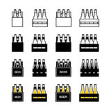 Sistema del icono de la caja de la cerveza Fotografía de archivo